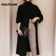 Aachoae Moda Malha Longa Camisola de Gola Alta Mulheres Frente Dividir Escritório Blusas de Jumper Pullover Sólida Outono Inverno Elegante