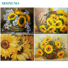 SDOYUNO 60x75cm Frame DIY Painting By Numbers Kits Sunflowers Abstract Modern Home Wall Art Picture Flowers Paint By Numbers