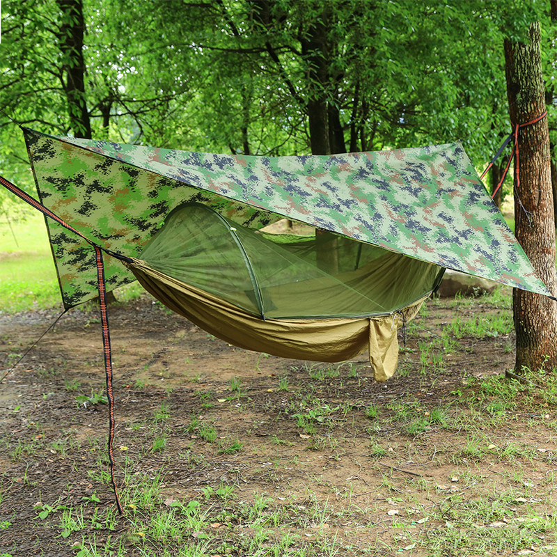 Outdoor Portable Hammock with Mosquito Net and Rain Fly Camping Backpacking Bug Hammocks and Netting Parachute Hammock Canopy(China)