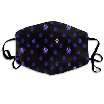 Face Masks Polyester, Washable,Blue Pink Purple Paws Anti-Dust Reusable Cloth Masks