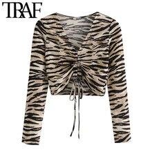 TRAF – chemisiers courts à manches longues pour femmes, Vintage, col en V, avec cordon de serrage, imprimé Animal, hauts chics