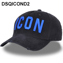 DSQICOND2 New Washed Cotton Baseball Cap ICON Letters Baseball Caps Snapback Hat For Men Women Dad Hat Embroidery Casual Cap Hip 2017 new arrival high quality snapback cap cotton baseball cap true north canada maple embroidery hat for men women unisex caps