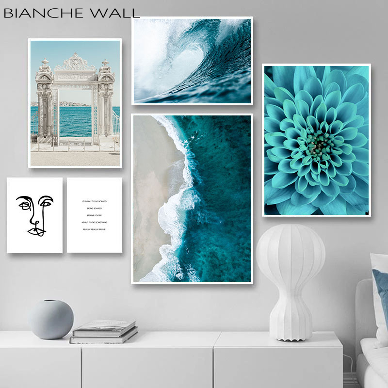 Ocean Waves Blue Flower Wall Poster Sea Beach Landscape Canvas Print Nordic Painting Scandinavian Art Room Decoration Picture