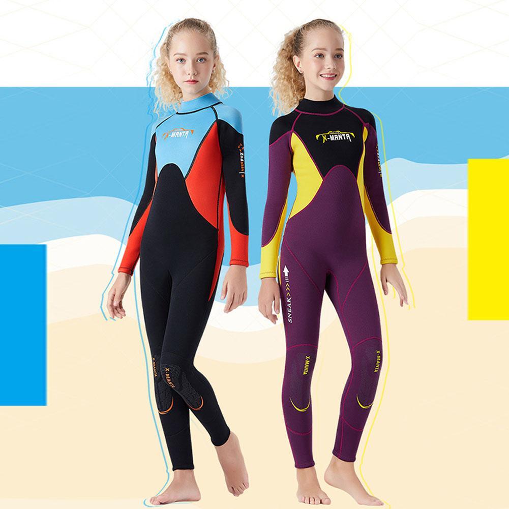 2.5mm jeunesse enfants combinaison Premium néoprène à manches longues jeunesse combinaison complète plongée sous-marine Surf costume pour filles garçons enfant