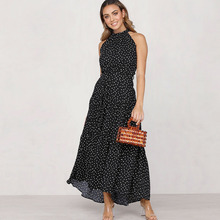 Spring Summer 2020 Fashion Sexy Sleeveless Polka D