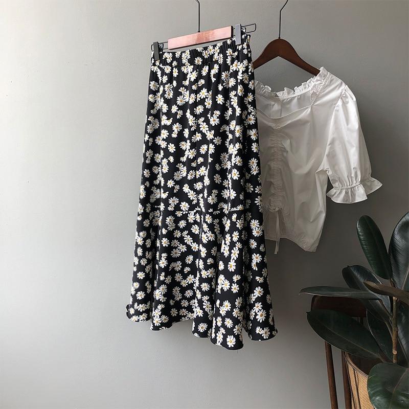 2020 Daisy Skirt Female Slim High Waist A Line Long Floral Skirt Female Bottom