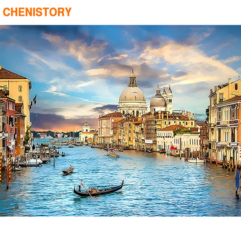 CHENISTORY Frame 60x75cm Venice Landscape Painting By Numbers Kit Acrylic Diy Paint For Home Decor Artwork Gift