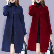 Осеннее и зимнее шерстяное пальто женское средней длины 2020