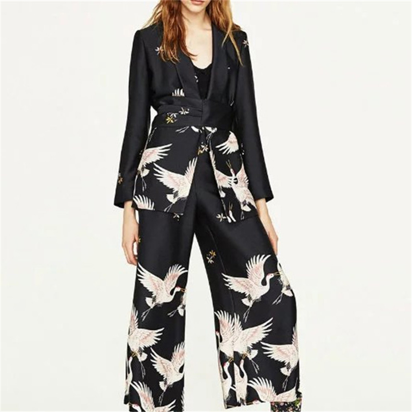 Japanese Style Cardigan Haori Women Kimono Harajuku Crane Costume Retro Casual Party Wide Leg Pant Hight Waist Capris Streetwear
