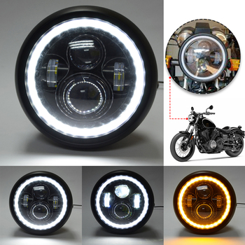 7.5 inch LED Motorcycle Headlight Universal Front Driving Headlamp with High Low Beam DRL Light 6 5inch universal retro motorcycle modification led headlight lamp with guard cover yellow driving light gn125 250