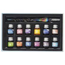 цена на 1 Set Transparent Glass Pen Starry Sky Dip Pen Glitter Powder Pen Ink Gift Box Writing Fountain Dip Pen