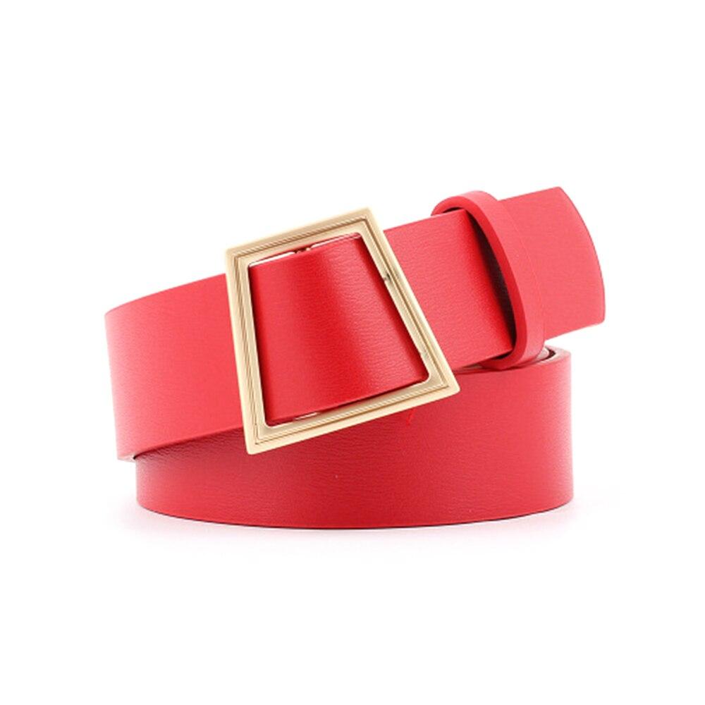 Винтажный двойной ремень с круглой пряжкой модный кожаный поясной ремень для женщин Harajuku черный красный однотонный пояс - Цвет: 1