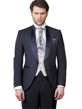 Traje ajustado de un botón para hombre para chaqueta de boda + Pantalones + chaleco 3 piezas para novio esmoquin chal solapa bod
