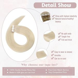 Image 2 - [Hot Sale]VeSunny Tape in Hair Extensions 100% Real Human Hair Solid Adhesive Skin Weft Glue on Machine Made Remy Blonde 50gr