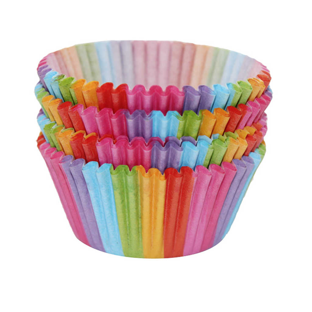 100x Rainbow Color Cupcake Baking Paper Cup Muffin Cases Liners for Supplies