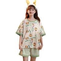 Conjunto de pijama con estampado de dibujos animados para mujer, ropa de dormir femenina de algodón con cuello redondo, de manga corta, informal, cómoda, ropa de casa