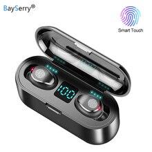 Bluetooth 5.0 kulaklık 9D Stereo müzik spor kablosuz kulaklık mikrofon ile kulaklık 2000 mAh güç banka iPhone Samsung için