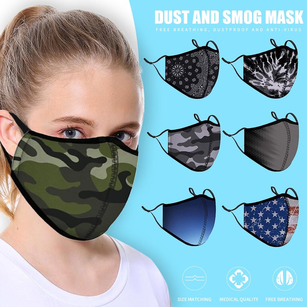 Classic Camouflage Mask For Adult Print Fabric Face Mask Washable PM 2.5 Protective Dust Reusable Mouth Mask Mondkapjes Wasbaar