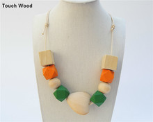 Colorful wood beads pendant necklace / long wooden ornaments 75CM wholesale dropshipping