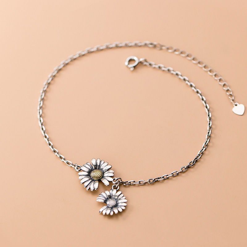 Genuine 925 Thai Silver Jewelry Fashion Daisy Flower Anklet 26.5CM Fine Jewelry For Women Lady Daughter Gift