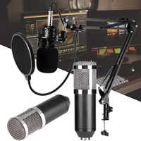 Micrófono dinámico de condensador BM800 de 3,5 MM, micrófono con cable, estudio de sonido para cantar, Kit de grabación, Karaoke KTV con soporte de choque