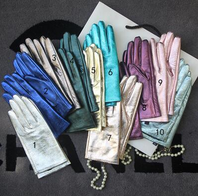 Women's Genuine Leather Brief Glove Lady's Warm Natural Sheepskin Leather Plus Size Fashion Slim Driving Glove R2465