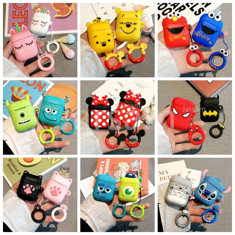 Cartoon Wireless Earphone Case For Apple AirPods 1 2 Silicone Charging Headphones Case Protective Cover Accessories With Lanyard