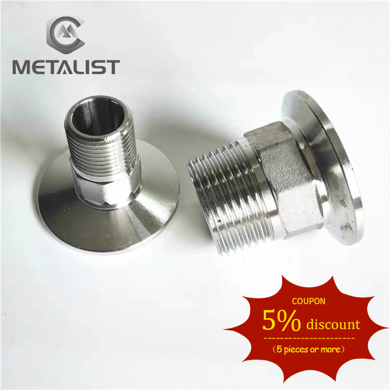 "METALIST 1""DN25 Stainless Steel SS304 Sanitary Hexagon Male Threaded Ferrule OD 50.5 Pipe Fitting Fit For 1.5"