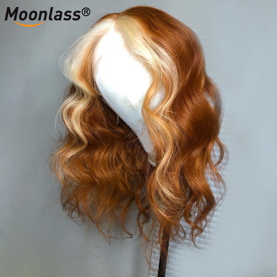 Moonlass 13x4 Ginger Purple Loose Wave Lace Front Wig With Baby Hair Ombre Human Hair Wig Pre Plucked Wigs for Women Human Hair