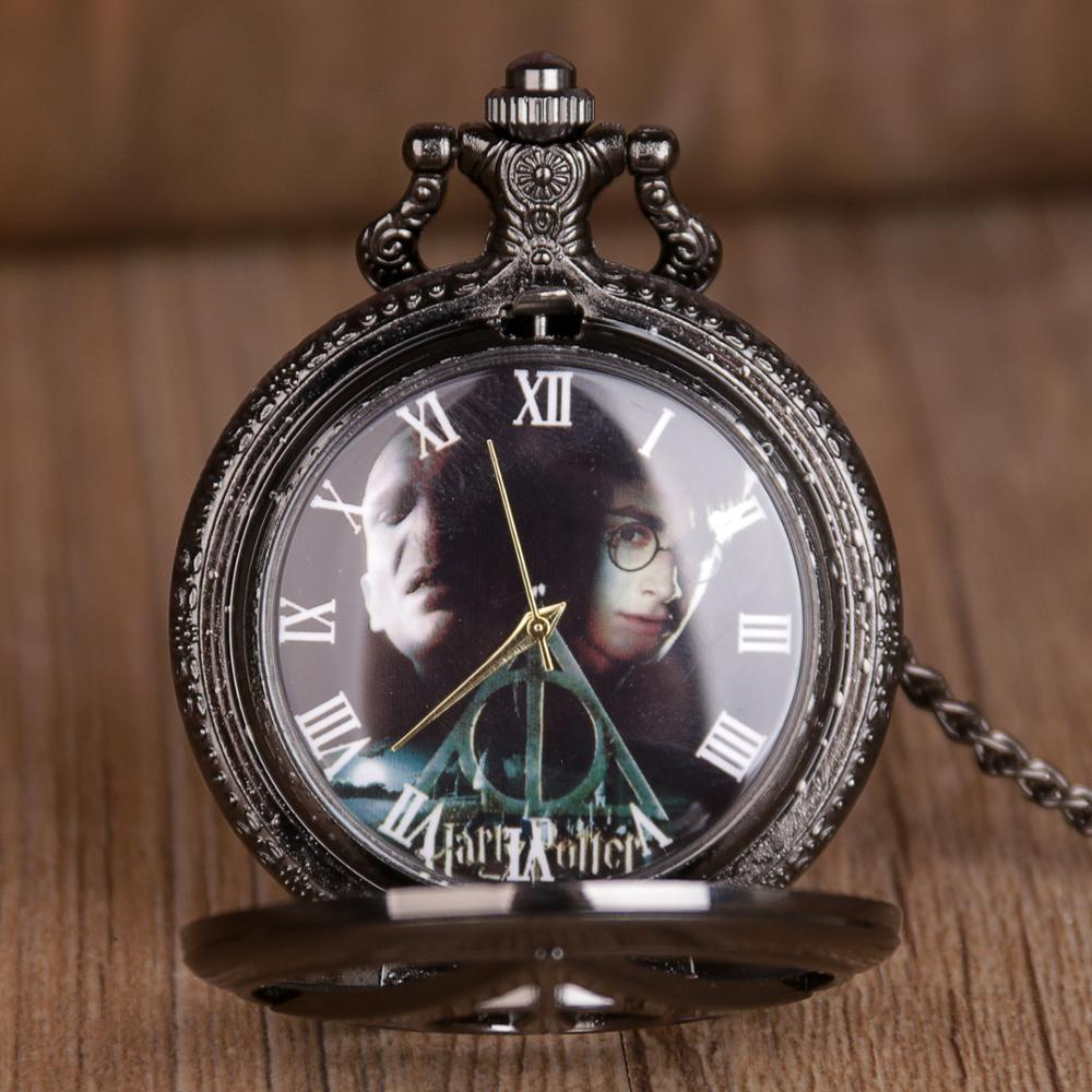 Hot Movie Vintage Black Star Wars Hollow Quartz Pocket Watch Men Necklace Fob Pendant Clock With Chain Children' Gift