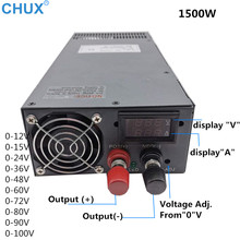 CHUX 1500W Adjustable Switching Power Supply 0-12V 15V 24V 36V 48V 60V 72V 80V 90V 100V AC to DC Display SMPS Power Supplies 1200w 12v 72v 90v 110v adjustable switching power supply for led strip light ac to dc suply s 1200 dianqi 13 5v 15v 24v