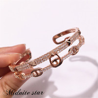 2019 Pig nose New Brand Simple Stainless steel Bangle fashion Copper Zirconia Bracelet jewelry