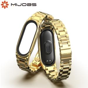 Image 1 - ミバンド5ストラップ金属リストバンドブレスレットmi曲げ4ベルトxiaomi correas miband 3 pulseira腕時計スマートアクセサリー