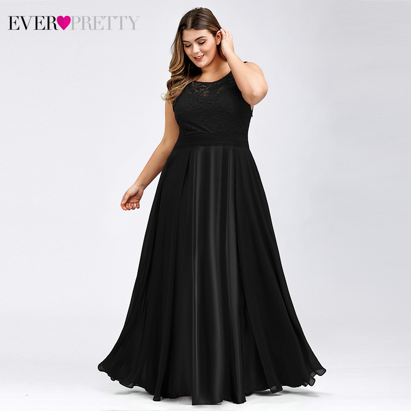 Plus Size Lace Prom Dresses Ever Pretty A-Line O-Neck Sleeveless Satin See-Through Evening Party Gowns Vestidos De Gala 2020