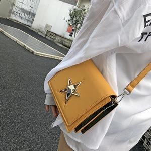 Image 1 - OLUOLIN Yellow five pointed star Lock Leather Shoulder Crossbody handbag Messenger Purse Flap PU Leather Travel Bags Shoulder
