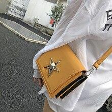 OLUOLIN żółty pięcioramienna gwiazda zamek skórzana torebka na ramię crossbody listonoszówka klapa PU skórzane torby podróżne na ramię