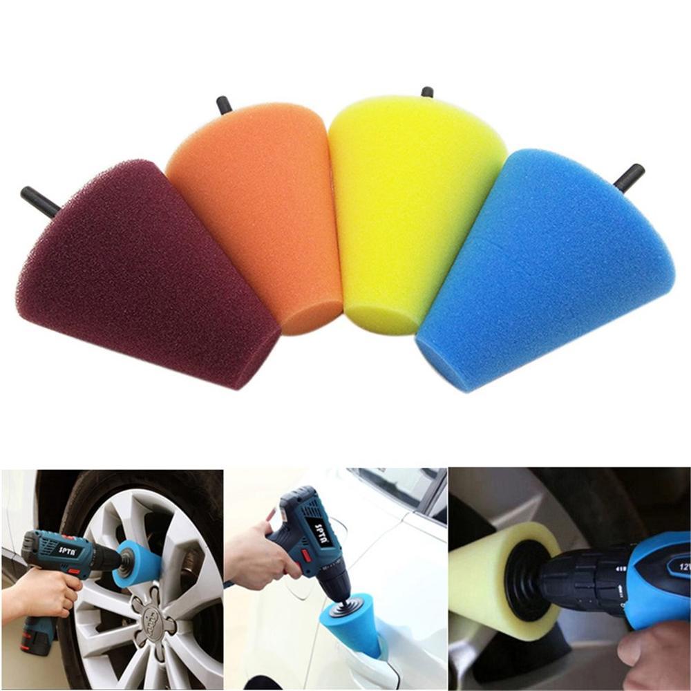 4Pcs 6mm Car Wheel Hub Polish Buffing Shank Polishing Sponge Cone Metal Foam Pad Kit Auto Wheel Pads Disc Sponge