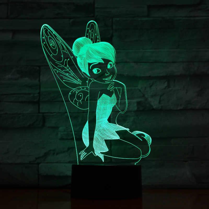 Đèn Led Tiên Cảm Ứng Cảm Biến Bé Gái Nightlight Có Mặt Trang Trí Phòng Đèn Peter Pan Công Chúa Ban Đêm Đèn Tinker Bell Hình