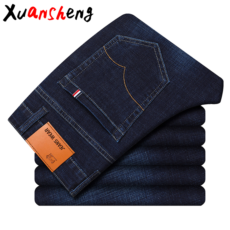 Brand Men's Jeans 2019 Classic Style Autumn Winter Business Casual Blue Black Elastic Straight Long Pants High Quality Jeans