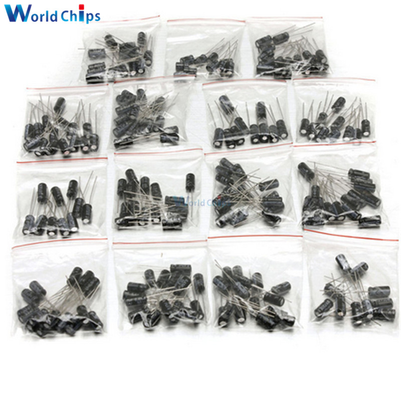 200PCS 15 Value Aluminum Electrolytic Capacitor 10V 16V 25V 50V 0.1μF 0.22μF 1μF 3.3μF 10μF 47μF 100μF 220μF Low ESR Capacitor