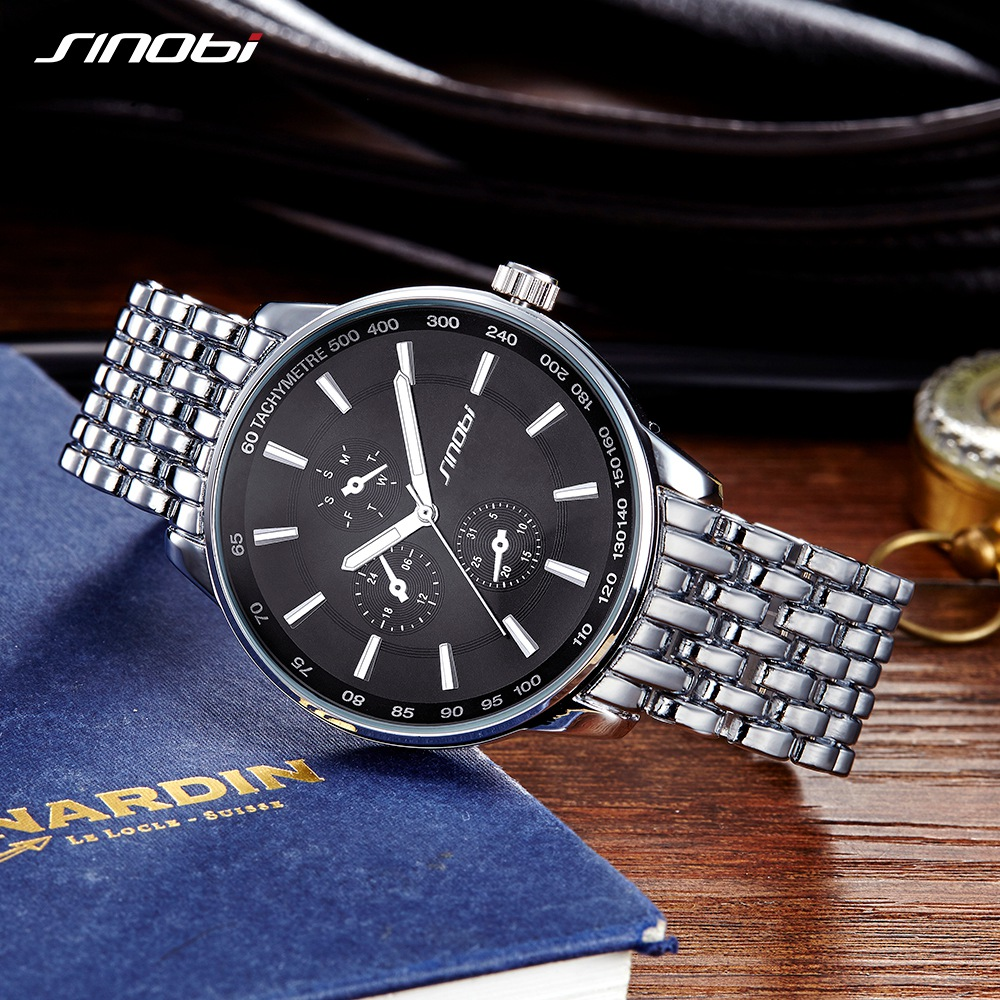 SINOBI Top Brand Luxury Men Women Fashion Casual Stainless Steel Watches Black Sports Geneva Clock Dropship Relogio Masculino