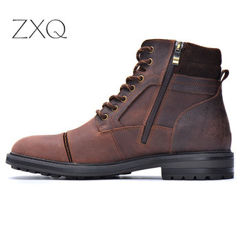 High Quality Vintage Boots Men Genuine Leather Ankle Boots Handmade Outdoor Working Boots Retro Style Men Oxford Boots