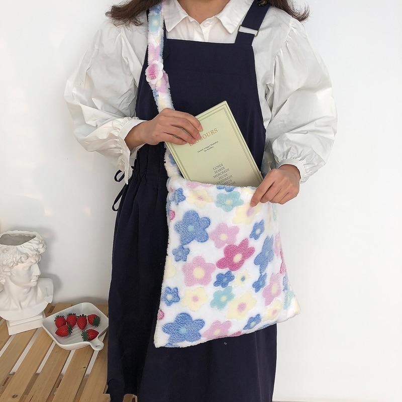 Youda New Soft Flowers Tote Plush Material Messenger Bag Female Student Large Capacity Shoulder Bags Simple Shopping Handbag