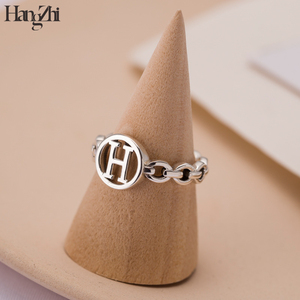 Japan and South Korea retro minimalist chain H letter shape distressed ring index finger opening adjustable ring for women gift