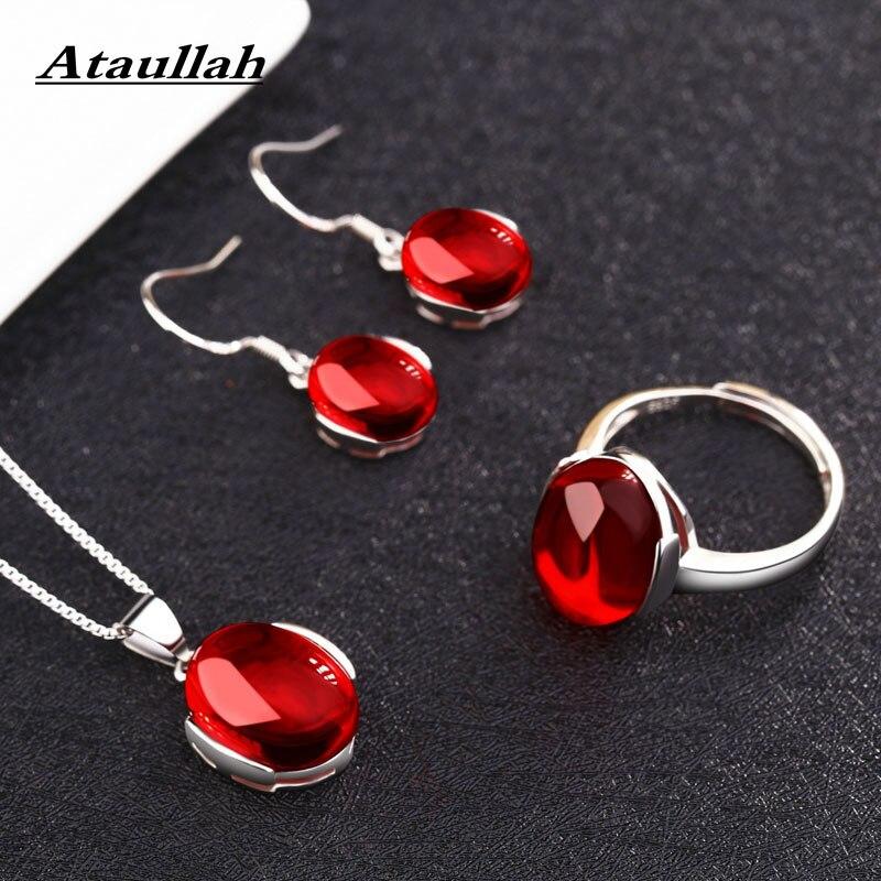 Ataullah Red corundum Jewelry Sets Silver 925 Women Necklace Drop Earrings Ring SW009