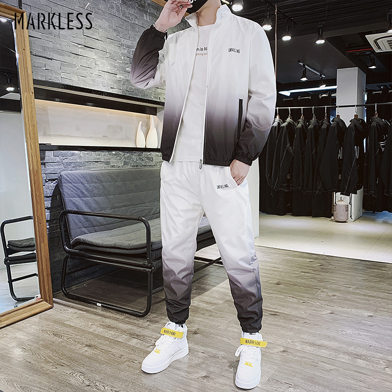 Markless Mens Tracksuit Outdoor Loose Sportswear Fashion Casual Outfit 2020 Stylish Sweatsuit Jackets With Pants FQT061