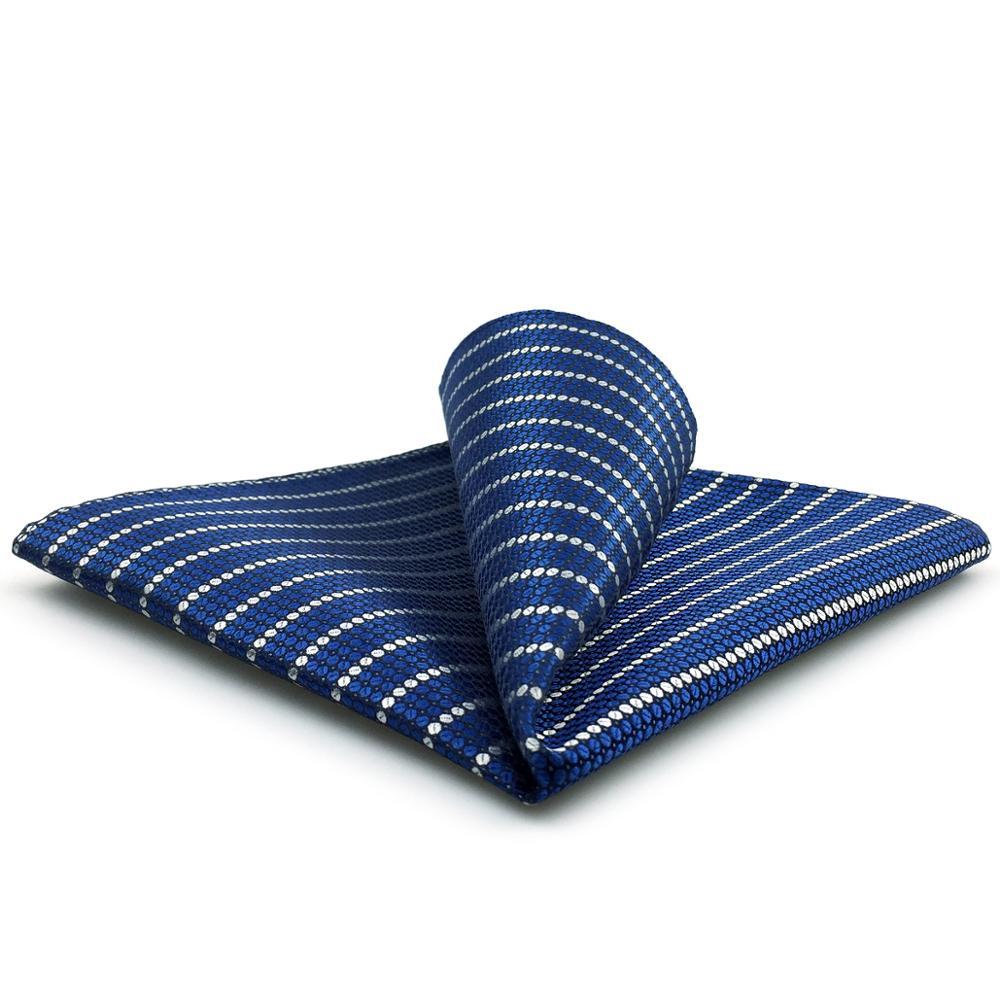 FH27 Blue Striped Pocket Square For Men Classic Handkerchief Fashion