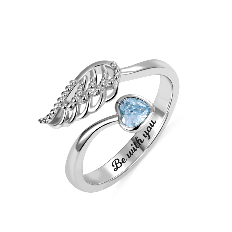 Wings 925-Sterling-Silver Birthstone Custom Engraving Women for by My-Side