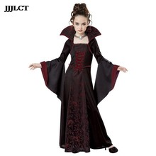 Girl red black medieval dress costume child for party role playing costume halloween costume for kids girl vampire costume(China)