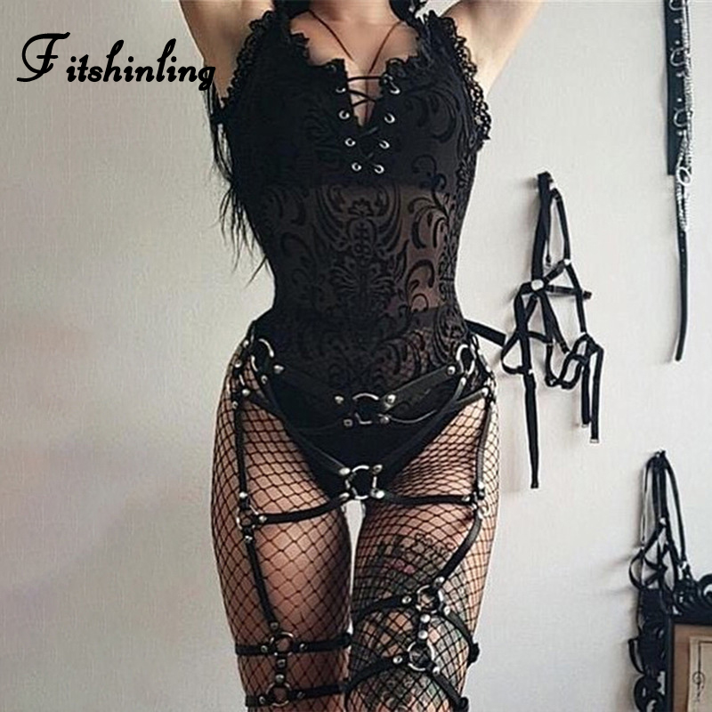 Fitshinling Gothic Lace Mesh Splice Bodysuit Women Lace Up Sheer Black Body Jumpsuit Sexy Hot Grunge Punk Bodysuits Ladies Sale